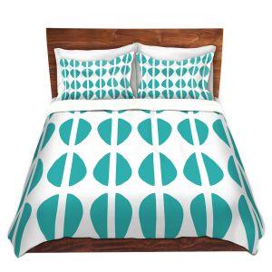 Artistic Duvet Covers and Shams Bedding | Traci Nichole Design Studio - Cowrie Stripe Blue