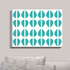 Decorative Canvas Wall Art | Traci Nichole Design Studio - Cowrie Stripe Blue | Patterns