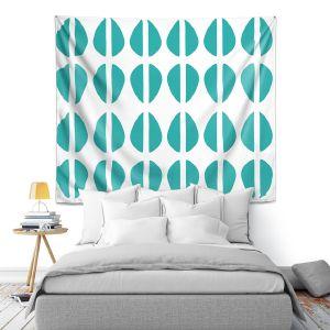 Artistic Wall Tapestry | Traci Nichole Design Studio - Cowrie Stripe Blue