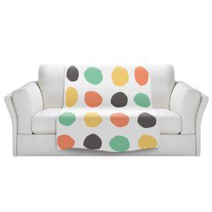 Artistic Sherpa Pile Blankets | Traci Nichole Design Studio - Oblong Dots Multi Square