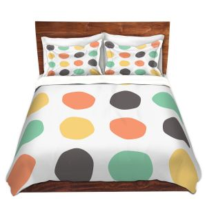 Artistic Duvet Covers and Shams Bedding | Traci Nichole Design Studio - Oblong Dots Multi Square