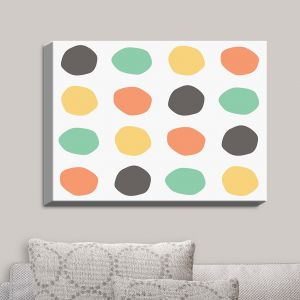 Decorative Canvas Wall Art | Traci Nichole Design Studio - Oblong Dots Multi Square | Patterns