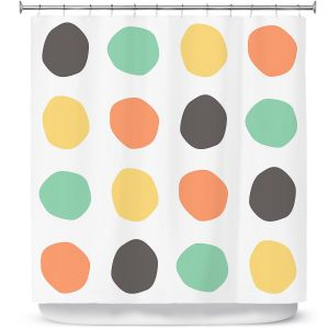 Premium Shower Curtains | Traci Nichole Design Studio - Oblong Dots Multi Square