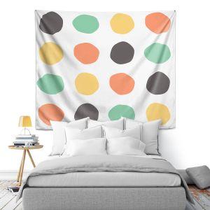 Artistic Wall Tapestry | Traci Nichole Design Studio - Oblong Dots Multi Square