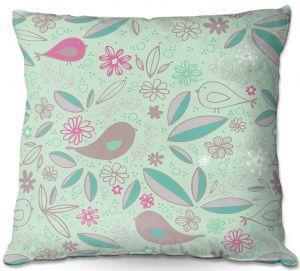 Decorative Outdoor Patio Pillow Cushion | Traci Nichole Design Studio - Partridge Robin | Patterns Birds Childlike
