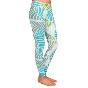 Casual Comfortable Leggings | Traci Nichole Design Studio - Rapids Blue Green