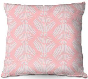 Decorative Outdoor Patio Pillow Cushion   Traci Nichole Design Studio - Seashell Cotton Candy   Patterns Seashell