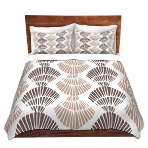 Artistic Duvet Covers and Shams Bedding | Traci Nichole Design Studio - Seashell Latte | Patterns Seashell