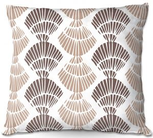 Decorative Outdoor Patio Pillow Cushion | Traci Nichole Design Studio - Seashell Latte | Patterns Seashell