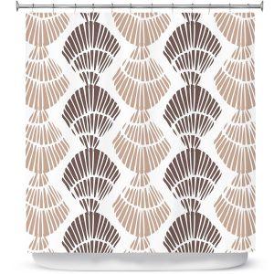 Premium Shower Curtains   Traci Nichole Design Studio - Seashell Latte   Patterns Seashell