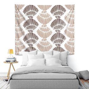 Artistic Wall Tapestry   Traci Nichole Design Studio - Seashell Latte   Patterns Seashell