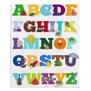 Decorative Fleece Throw Blankets | Valerie Lorimer - Alphabet