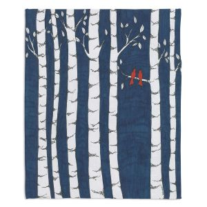 Decorative Fleece Throw Blankets | Valerie Lorimer - Always and Forever | Birds Trees