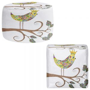 Round and Square Ottoman Foot Stools | Valerie Lorimer - Bird Talk