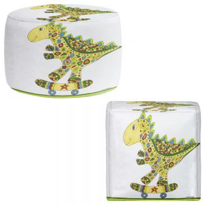 Round and Square Ottoman Foot Stools | Valerie Lorimer - Dinosaur Skater