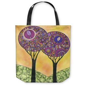 Unique Shoulder Bag Tote Bags | Valerie Lorimer - Electric Spring | Nature Trees Boho Chic