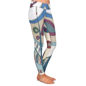 Casual Comfortable Leggings | Valerie Lorimer - In The Vineyard | Abstract Boho Chic Mid Century Modern