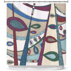 Premium Shower Curtains   Valerie Lorimer - In The Vineyard   Abstract Boho Chic Mid Century Modern