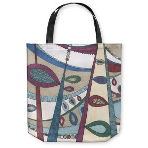 Unique Shoulder Bag Tote Bags | Valerie Lorimer - In The Vineyard | Abstract Boho Chic Mid Century Modern