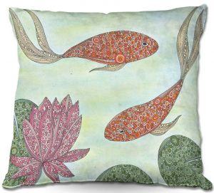 Decorative Outdoor Patio Pillow Cushion | Valerie Lorimer - Koi Pond