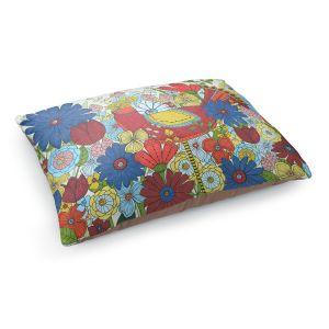 Decorative Dog Pet Beds | Valerie Lorimer - Little Miss Skinny Legs | flower pattern floral garden