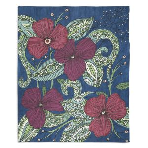 Decorative Fleece Throw Blankets | Valerie Lorimer - Midnight Garden Flowers