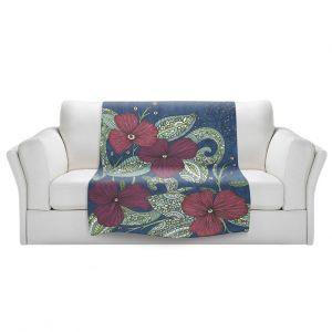 Artistic Sherpa Pile Blankets | Valerie Lorimer - Midnight Garden Flowers