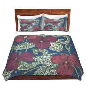 Artistic Duvet Covers and Shams Bedding | Valerie Lorimer - Midnight Garden Flowers