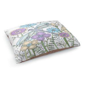 Decorative Dog Pet Beds | Valerie Lorimer - My Little Dragonfly | flower pattern floral garden