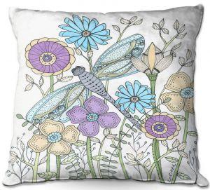 Decorative Outdoor Patio Pillow Cushion | Valerie Lorimer - My Little Dragonfly | flower pattern floral garden