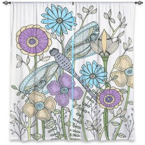 Decorative Window Treatments | Valerie Lorimer - My Little Dragonfly | flower pattern floral garden