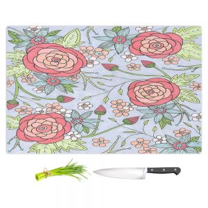 Artistic Kitchen Bar Cutting Boards | Valerie Lorimer - Once Upon A Rose | Flowers floral pattern