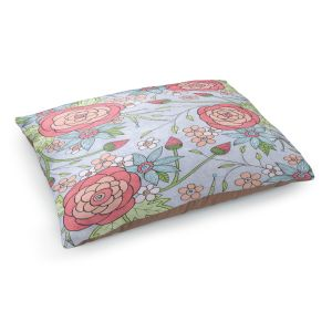 Decorative Dog Pet Beds | Valerie Lorimer - Once Upon A Rose | Flowers floral pattern