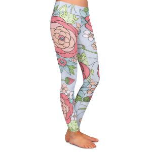 Casual Comfortable Leggings | Valerie Lorimer - Once Upon A Rose | Flowers floral pattern