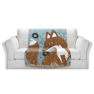 Artistic Sherpa Pile Blankets | Valerie Lorimer - Secret Visitor Fox