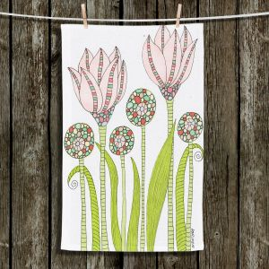 Unique Hanging Tea Towels | Valerie Lorimer - Spring Pink Garden | Flowers Pastels
