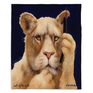 Decorative Fleece Throw Blankets | Will Bullas - Call of the Wild | Lion Puma nature animal big cat phone pun joke