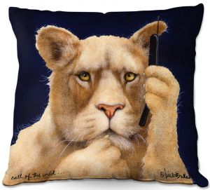 Decorative Outdoor Patio Pillow Cushion | Will Bullas - Call of the Wild | Lion Puma nature animal big cat phone pun joke