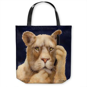 Unique Shoulder Bag Tote Bags | Will Bullas - Call of the Wild | Lion Puma nature animal big cat phone pun joke