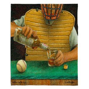 Decorative Fleece Throw Blankets   Will Bullas - Catcher in the Rye   baseball liquor whiskey drink alcohol umpire bar pun joke