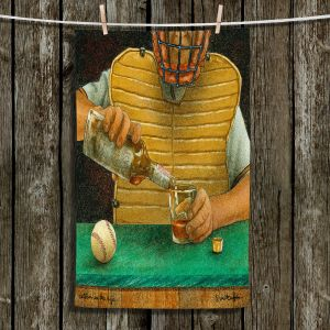 Unique Hanging Tea Towels | Will Bullas - Catcher in the Rye | baseball liquor whiskey drink alcohol umpire bar pun joke
