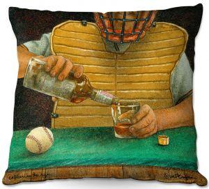 Throw Pillows Decorative Artistic   Will Bullas - Catcher in the Rye   baseball liquor whiskey drink alcohol umpire bar pun joke