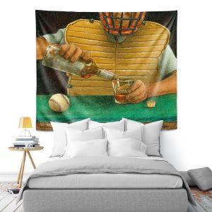 Artistic Wall Tapestry | Will Bullas - Catcher in the Rye | baseball liquor whiskey drink alcohol umpire bar pun joke