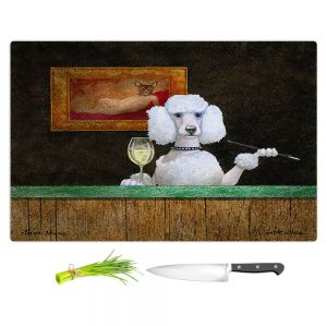 Artistic Kitchen Bar Cutting Boards | Will Bullas - Chien Blanc | Poodle wine bar drink alcohol dog pun joke nature animal