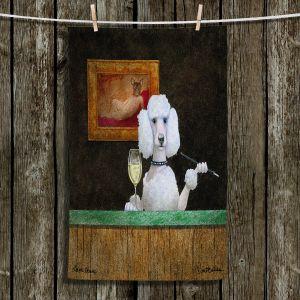Unique Bathroom Towels | Will Bullas - Chien Blanc | Poodle wine bar drink alcohol dog pun joke nature animal