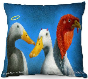 Decorative Outdoor Patio Pillow Cushion | Will Bullas - Good the Bad and the Ugly | Duck bird pun joke nature animal