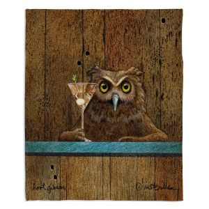 Artistic Sherpa Pile Blankets | Will Bullas - Hoot Gibson | owl martini alcohol liquor gin vodka bar pun joke