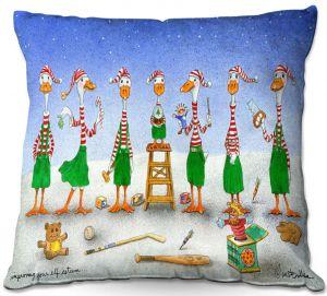Decorative Outdoor Patio Pillow Cushion | Will Bullas - Improving Your Elf Esteem | Duck geese christmas snow winter north pole santa xmas holiday pun joke