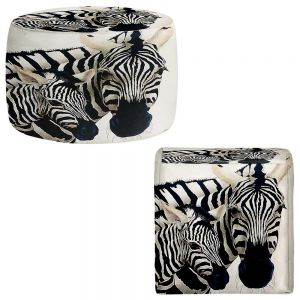 Round and Square Ottoman Foot Stools | Will Bullas - Madonna Serengeti Zebra