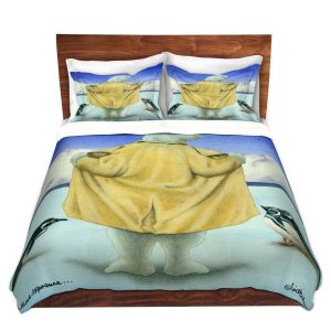 Artistic Duvet Covers and Shams Bedding   Will Bullas - Northern Exposure   polar bear animal penguin glacier arctic north pole trench coat joke pun